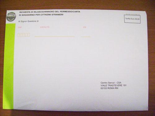 конверт запрос на продление вида на жительство в Италии
